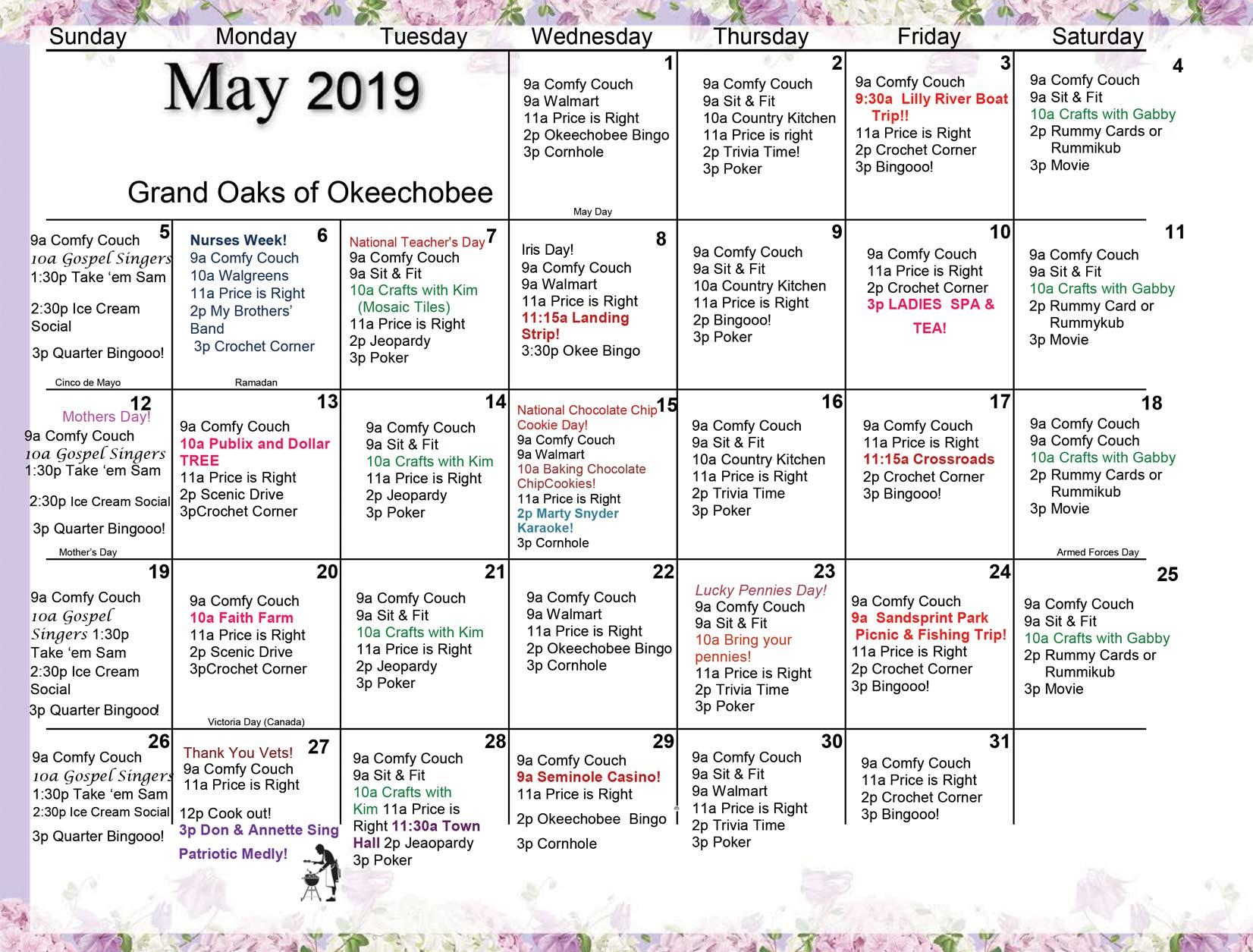 Grand Oaks Okeechobee Calendar May 2019
